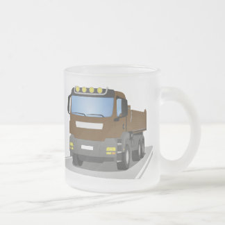 brown building sites truck frosted glass coffee mug