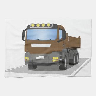 brown building sites truck tea towel