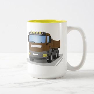 brown building sites truck Two-Tone coffee mug