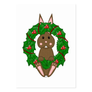 Brown Bunny And Christmas Wreath Business Cards