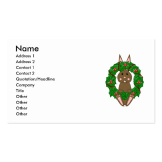 Brown Bunny And Christmas Wreath Business Card Template