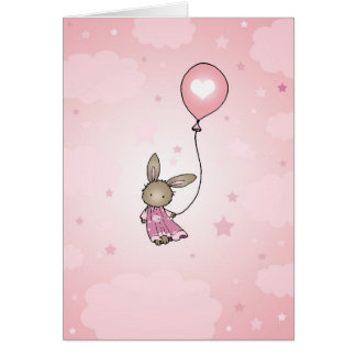 Brown Bunny in Pink Birthday Card