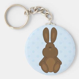 Brown Bunny on Blue Polka Dots Keychain