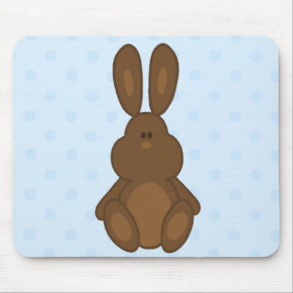 Brown Bunny on Blue Polka Dots Mousepad