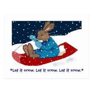 Brown Bunny on Sled Postcards