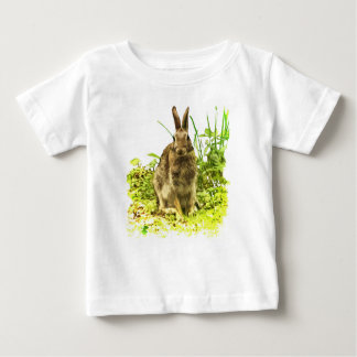 Brown Bunny Rabbit in Green Grass Baby T-Shirt