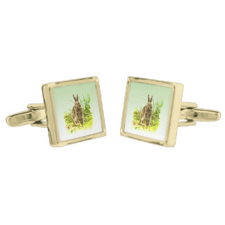 Brown Bunny Rabbit in Green Grass Cufflinks Gold Finish Cufflinks