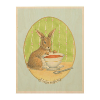Brown Bunny with Cup of Coffee Wood Wall Art