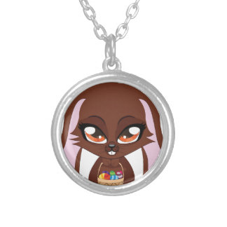 Brown bunny with Easter eggs Round Pendant Necklace