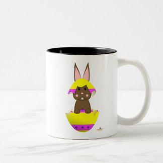 Brown Bunny Yellow Decorated Easter Egg Coffee Mug