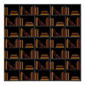 Brown, Burgundy and Mustard Color Books on Shelf. Poster
