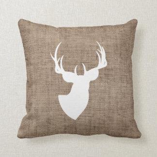 Brown Burlap and White Deer Silhouette Cushion