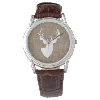 Brown Burlap and White Deer Silhouette Watch