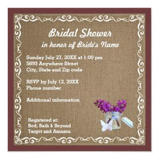 Brown Burlap, Purple Flowers, Jar Bridal Shower 13 Cm X 13 Cm Square Invitation Card