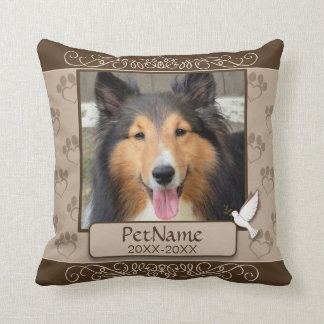 Brown Calligraph Swirls Custom Pet Sympathy Cushion
