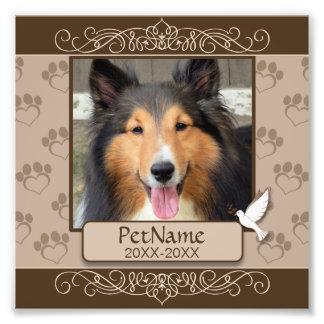 Brown Calligraph Swirls Custom Pet Sympathy Photo Print