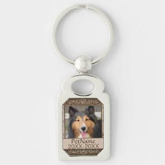Brown Calligraph Swirls Custom Pet Sympathy Keychain