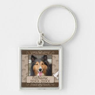 Brown Calligraph Swirls Custom Pet Sympathy Silver-Colored Square Key Ring