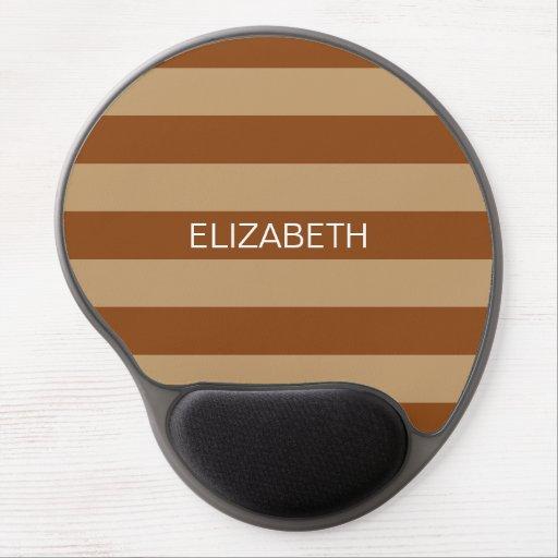 Brown Camel Horiz Preppy Stripe Name Monogram Gel Mouse Pads