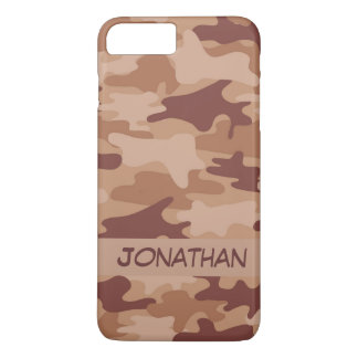 Brown Camo Camouflage Name Personalised iPhone 7 Plus Case