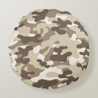 Brown Camo Design Round Pillow