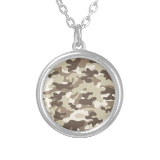 Brown Camo Design Round Pendant Necklace