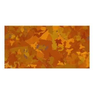 brown camo oak color pattern collage customized photo card