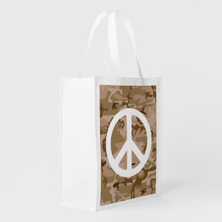 BROWN CAMOUFLAGE AND PEACE SIGN Reusable Bag