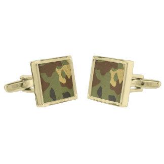 Brown Camouflage Gold Finish Cufflinks