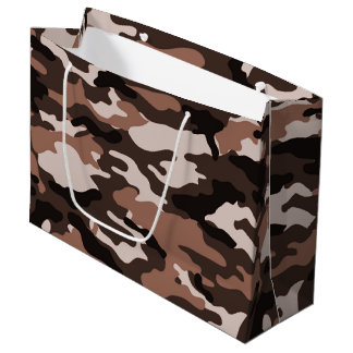 Brown camouflage Large Gift Bag