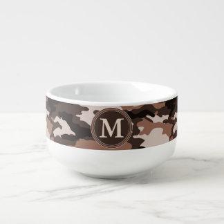 Brown Camouflage Pattern Initial Monogram Soup Mug
