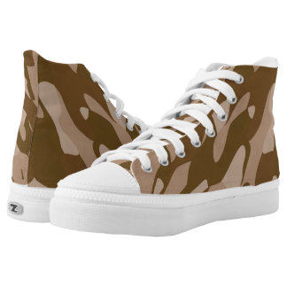 Brown Camouflage Unisex High Top Zipz Shoes