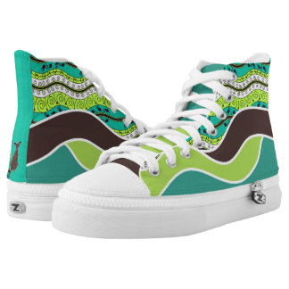 Brown Cartoon Dog with Green Turquoise and Brown High Tops