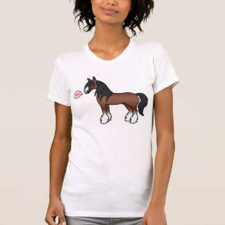 Brown Cartoon Gypsy Vanner Shire Clydesdale Love T-Shirt
