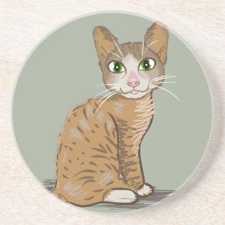Brown Cat Illustration Drink Coaster