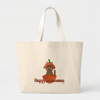 Brown Cat Pumpkin Happy Halloween Canvas Bag