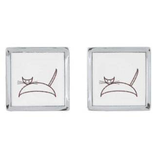 Brown cat silver finish cuff links