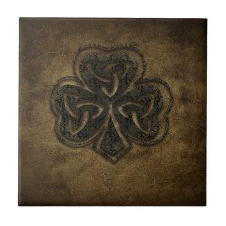 brown celtic knot clover ceramic tile