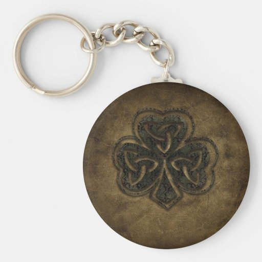 brown celtic knot clover key chains