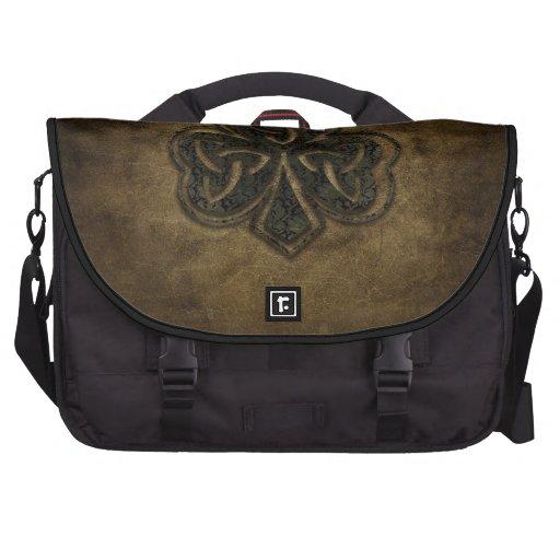 brown celtic knot clover laptop computer bag