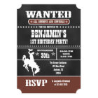 Brown Chalkboard Cowboy Birthday Invitation
