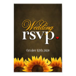 Brown Chalkboard Sunflower Wedding RSVP Cards Personalized Invite