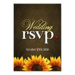 Brown Chalkboard Sunflower Wedding RSVP Cards Custom Announcements