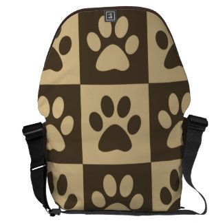 Brown Checker Paw Pattern Messenger Bag