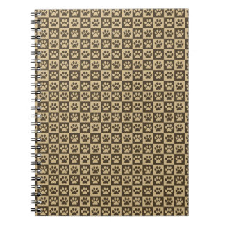 Brown Checker Paw Pattern Spiral Note Book