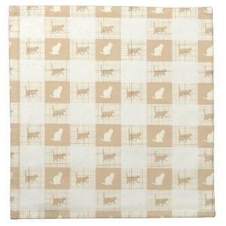 Brown Checkerboard Cat Pattern Napkin