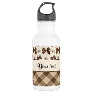 Brown Checks & Beautiful Bows 532 Ml Water Bottle