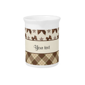 Brown Checks & Beautiful Bows Beverage Pitchers
