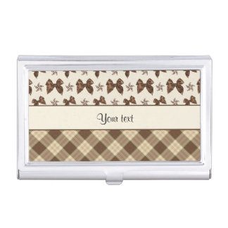 Brown Checks & Beautiful Bows Business Card Holder