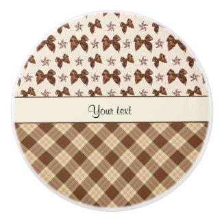 Brown Checks & Beautiful Bows Ceramic Knob